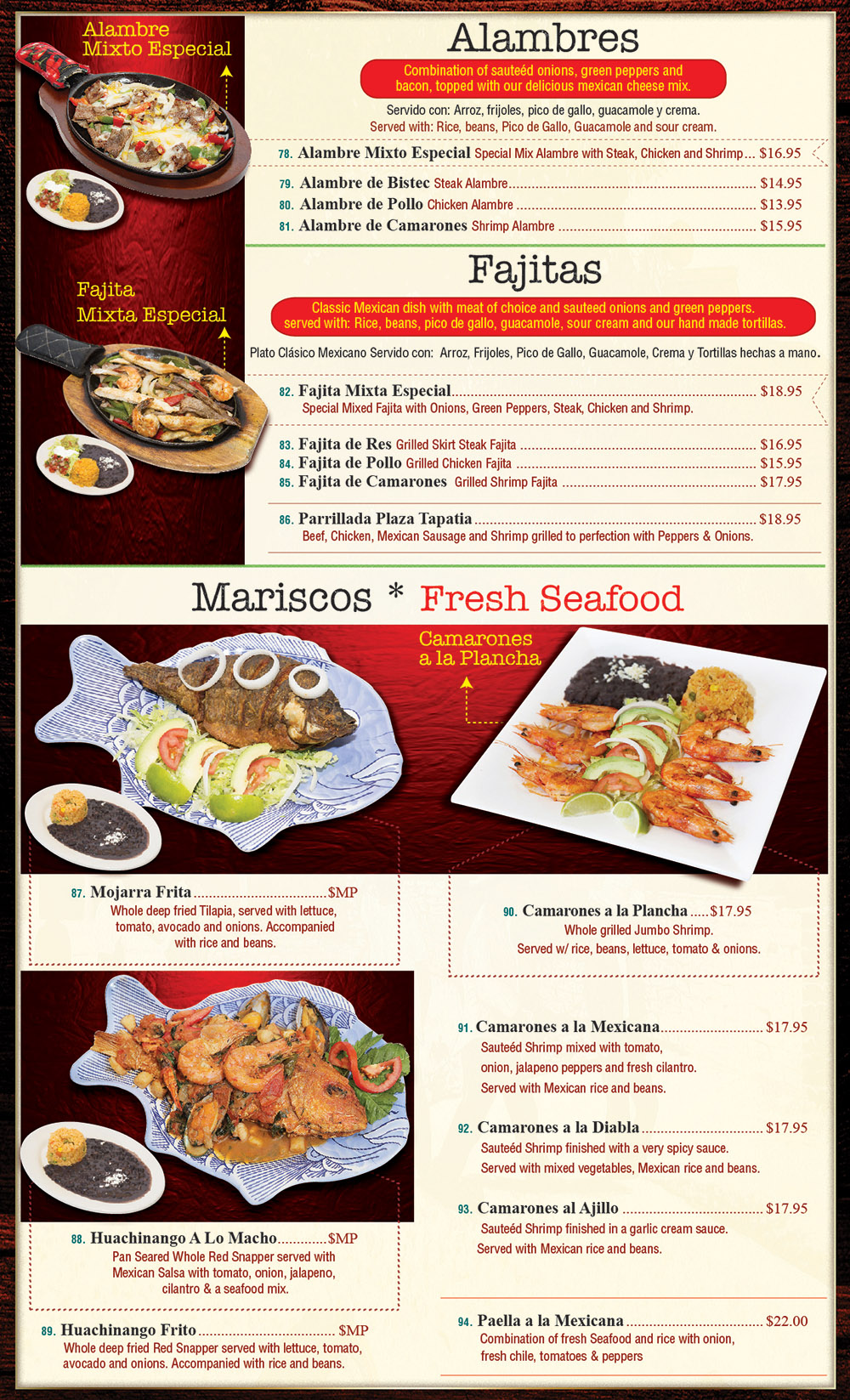 Plaza Tapatia Asbury Park NJ Menu Page 4