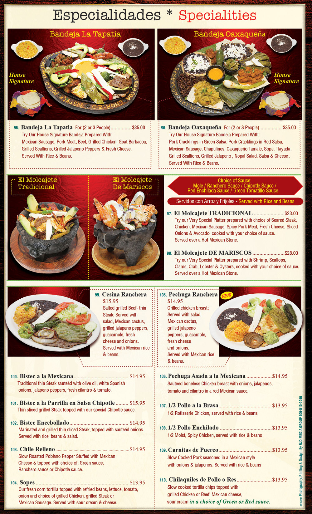 Plaza Tapatia Asbury Park NJ Menu Page 5